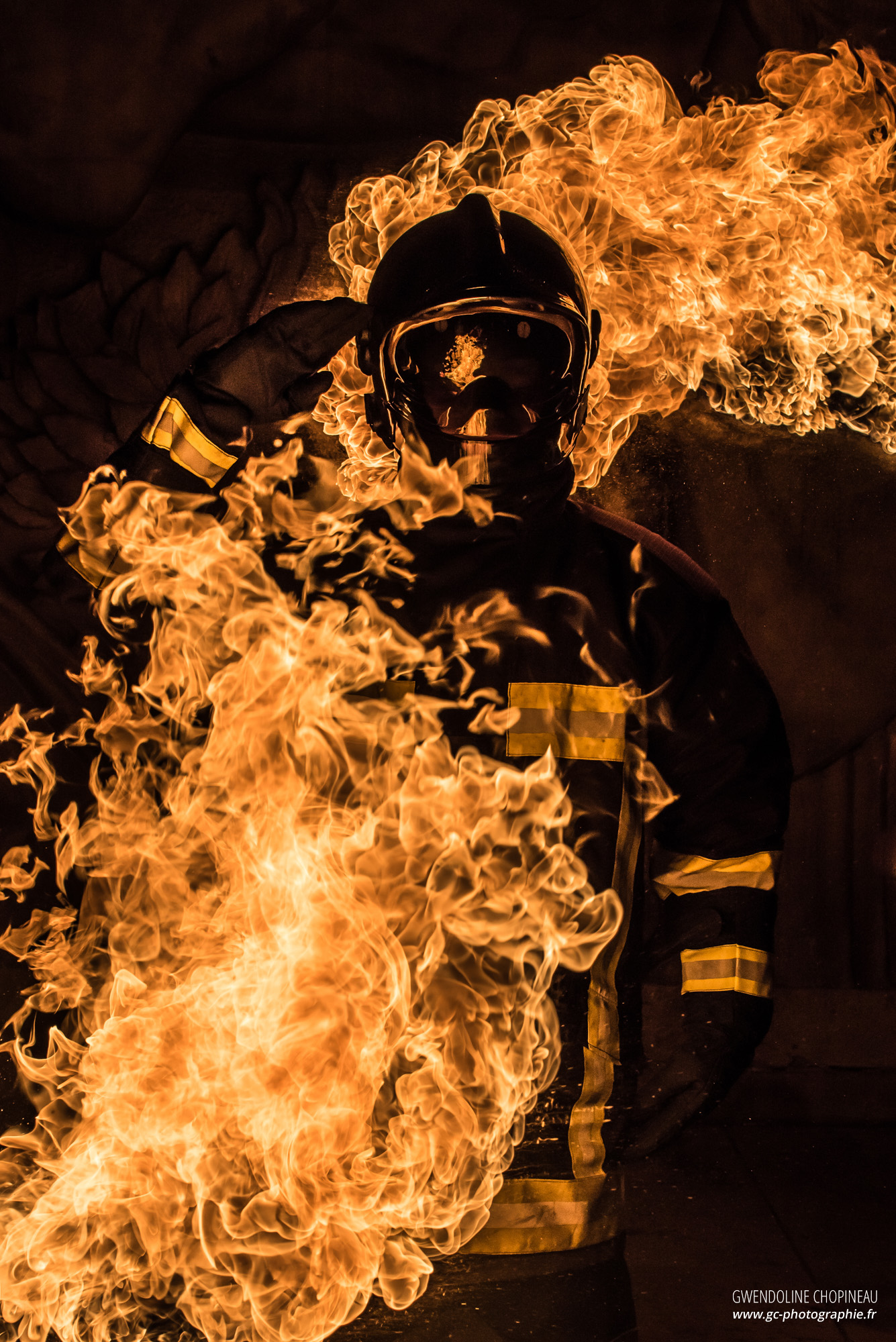 Sapeur pompier feu affiche
