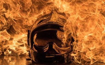 Shooting photo feu avec un sapeur pompier